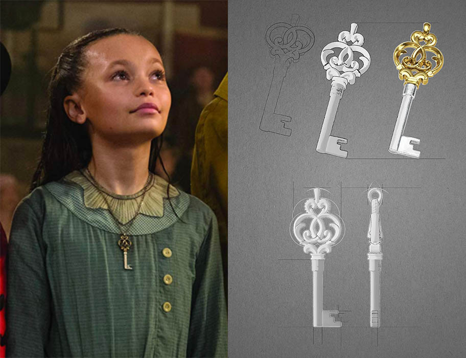 Nico Parker wearing the key pendant in Dumbo and and Stephen Einhorn's designs of the jewel. Photo Disney and courtesy