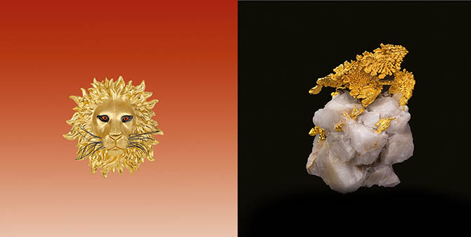 Paula Crevoshay gold lion brooch accented with amber and black diamonds and a specimen of gold on quartz from the Colorado Mine in Mariposa County, California. Photo