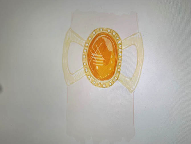 Irene Neuwirth's drawing for the Infinity Stone bracelet worn by Brie Larson at the world premiere of 'Avengers: End Game.' Photo Irene Neuwirth