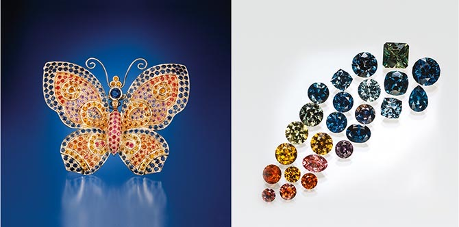 Paula Crevoshay's Conchita Butterfly set with Montana sapphires and an array of Montana sapphires. Photo