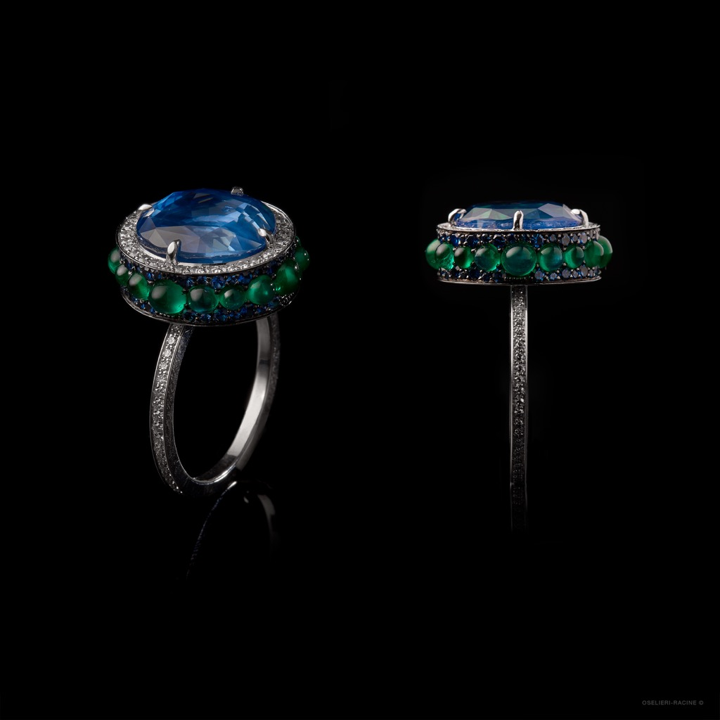A ring by Oselieri Racine being shown at Gem Genève. Photo courtesy