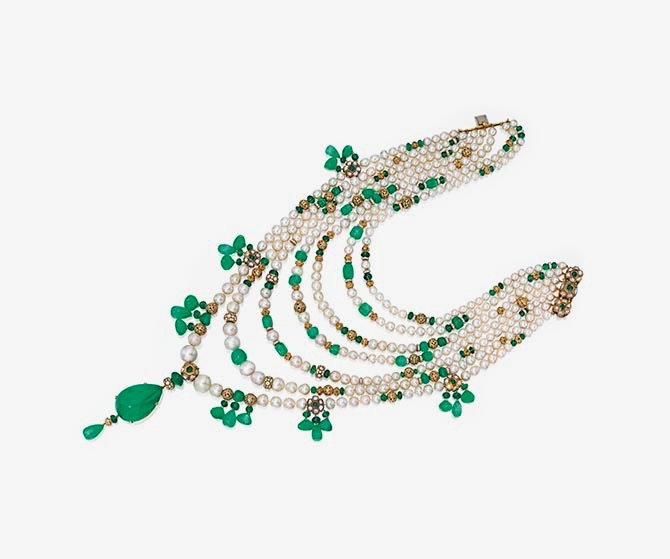 Jayne Wrightsman's multi strand natural pearl emerald and diamond necklace was inspired by Indian styles. Photo Sotheby's