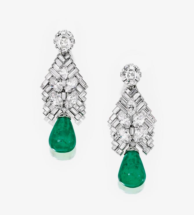 Jayne Wrightsman's Cartier diamond and emerald earrings made around 1935. Photo Sotheby's
