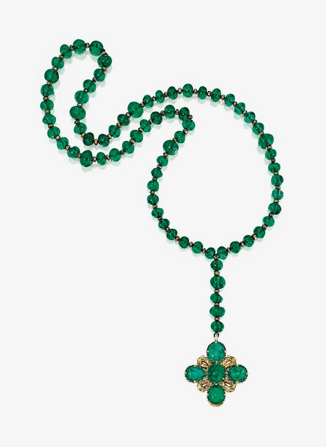 Jane Wrightsman 17th century emerald rosary accented with diamonds. Photo Sotheby's