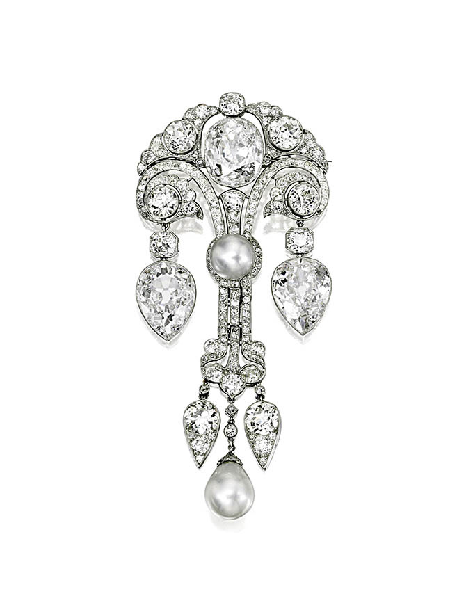 Jayne Wrightman's platinum, diamond and pearl brooch was made around 1910.