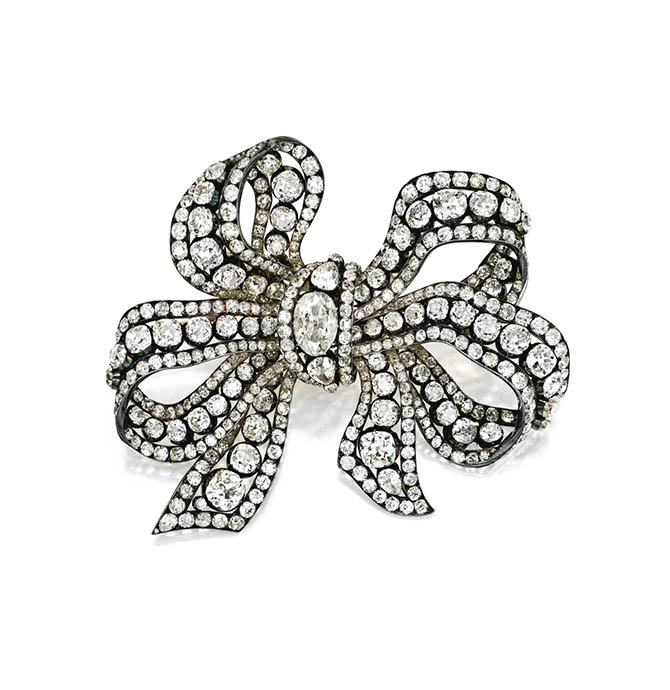 Jayne Wrightsman's silver topped bow brooch made around 1850 that once belonged to Princess Marina the Duchess of Kent and originally came from the collection of Grand Duchess Elena Vladimirovna of Russia. Photo Sotheby's