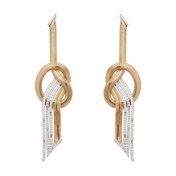 Gold and diamond Nikos Koulis earrings from the Feelings collection Photo courtesy