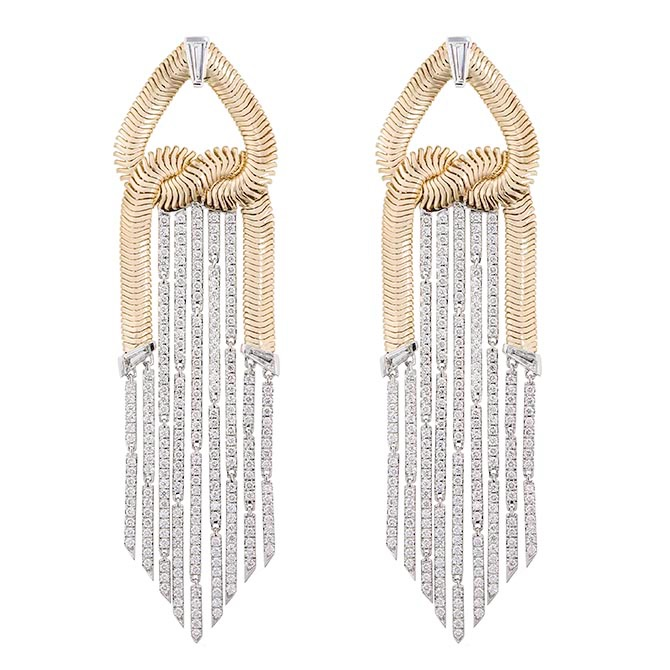 The gold and diamond earrings Nikos Koulis earrings worn by Scarlett Johansson to the 'Avengers Endgame' fan event. Photo courtesy