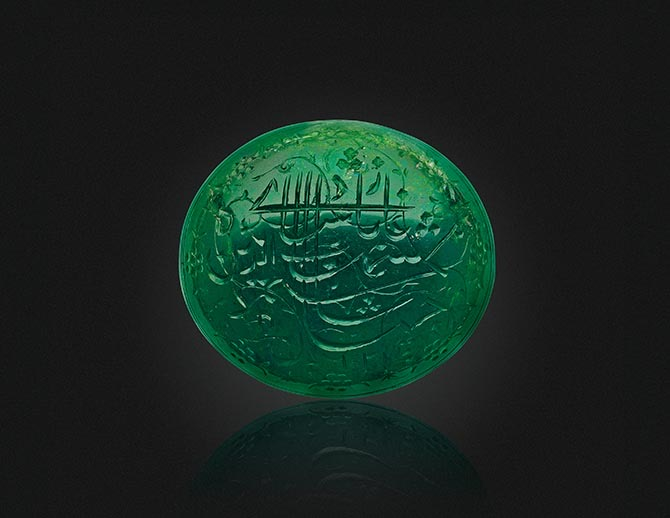 The 30.60-carat Shah Jahan Emerald being sold at Christie's in New York. Photo Christie's