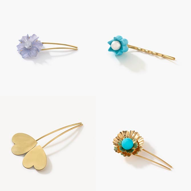Bejeweled gold hairpins by Irene Neuwirth Photo courtesy