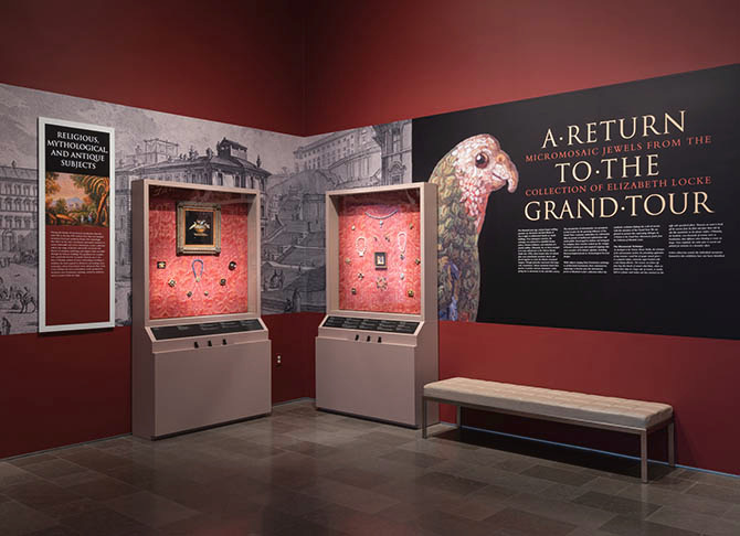 Gallery view of 'A Return to the Grand Tour: Micromosaic Jewels from the Collection of Elizabeth Locke' Photo David Stover © Virginia Museum of Fine Arts.