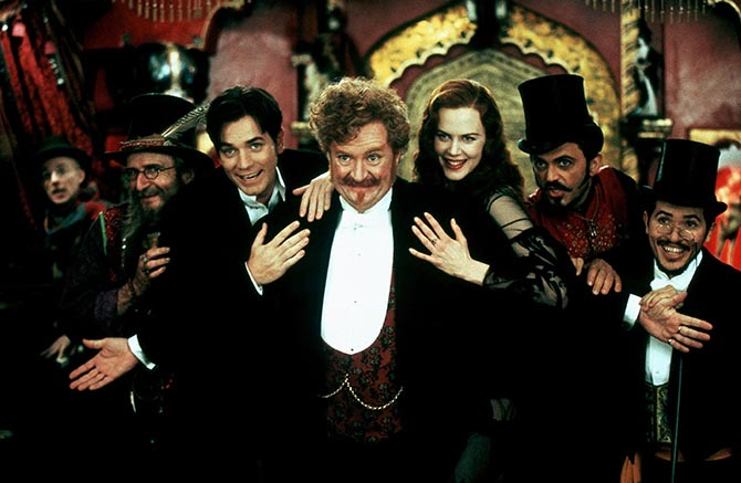 "Garry McDonald, Ewan McGregor, Jim Broadbent, Nicole Kidman, Jacek Koman and John Leguizamo performing ""Spectacular, Spectacular"" in 'Moulin Rouge!' Photo Alamy"
