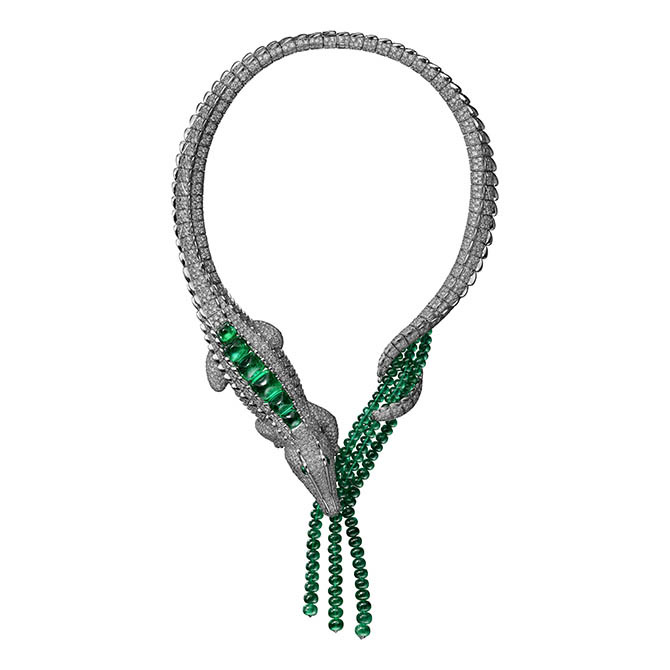 The María Félix new emerald and diamond crocodile necklace made by Cartier. Photo courtesy