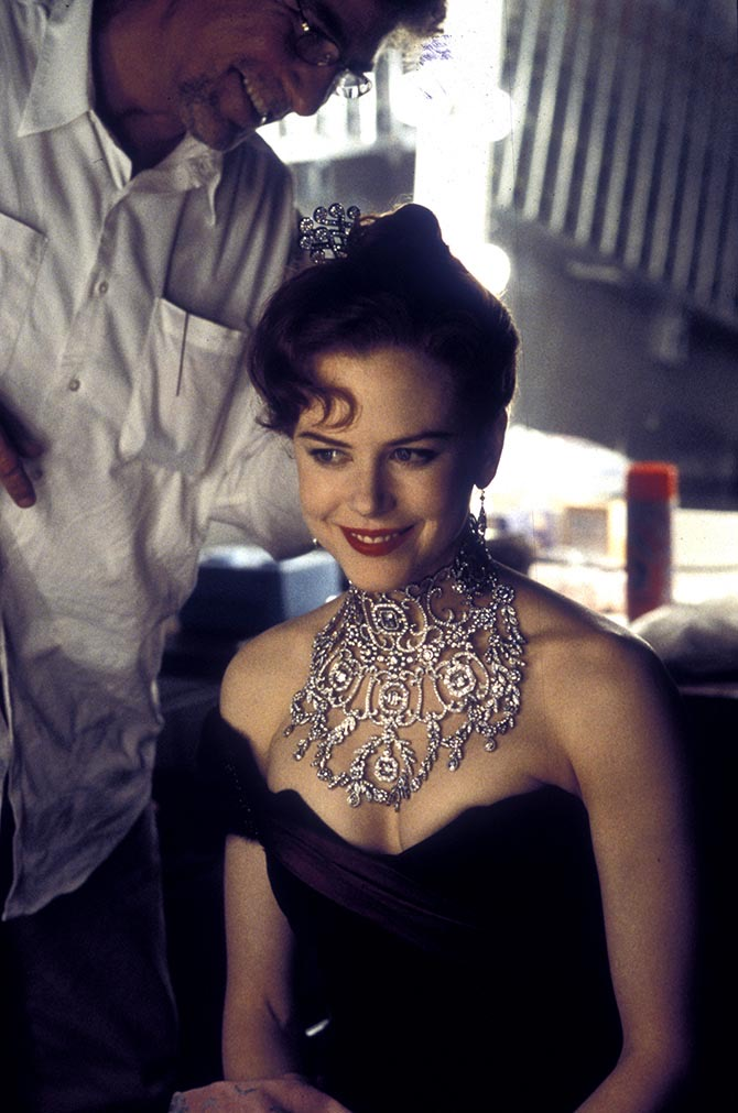 The Satine necklace made by Canturi for 'Moulin Rouge!' being put on Nicole Kidman. Photo Sue Adler © 2001 20th Century Sue Adler