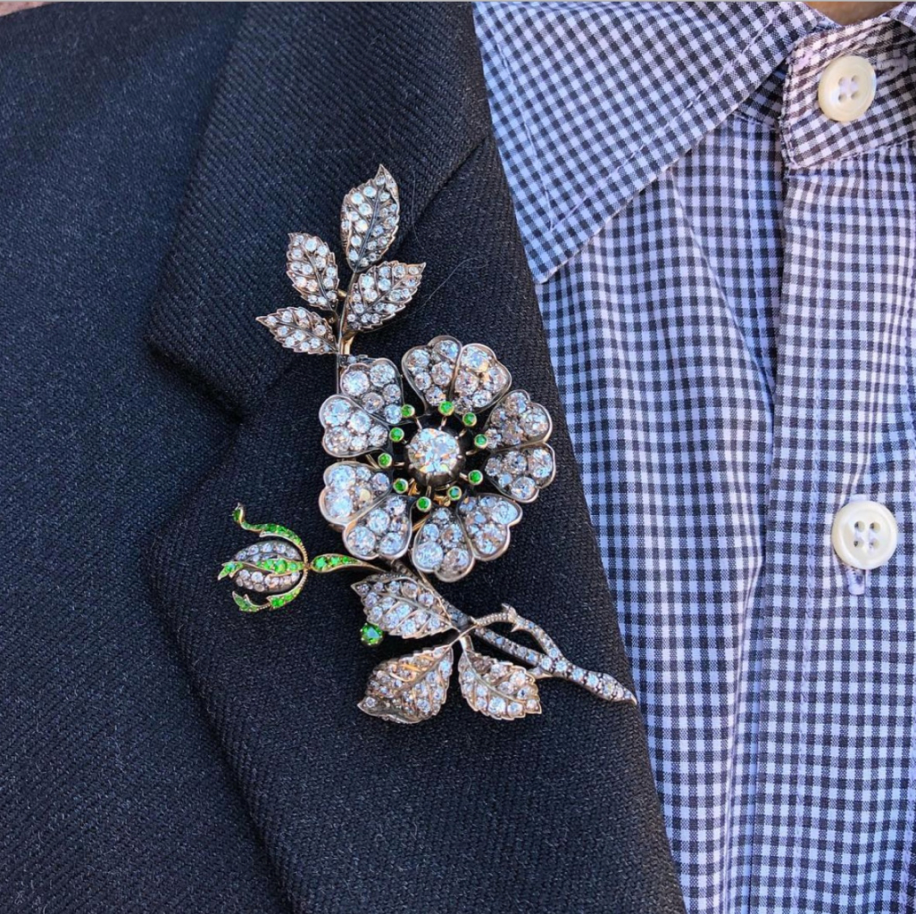 Diamond Floral 19th century brooch from the 'In Bloom' selling exhibition at Sotheby's on Frank Everett's lapel. Photo via Instagram @frankbeverett