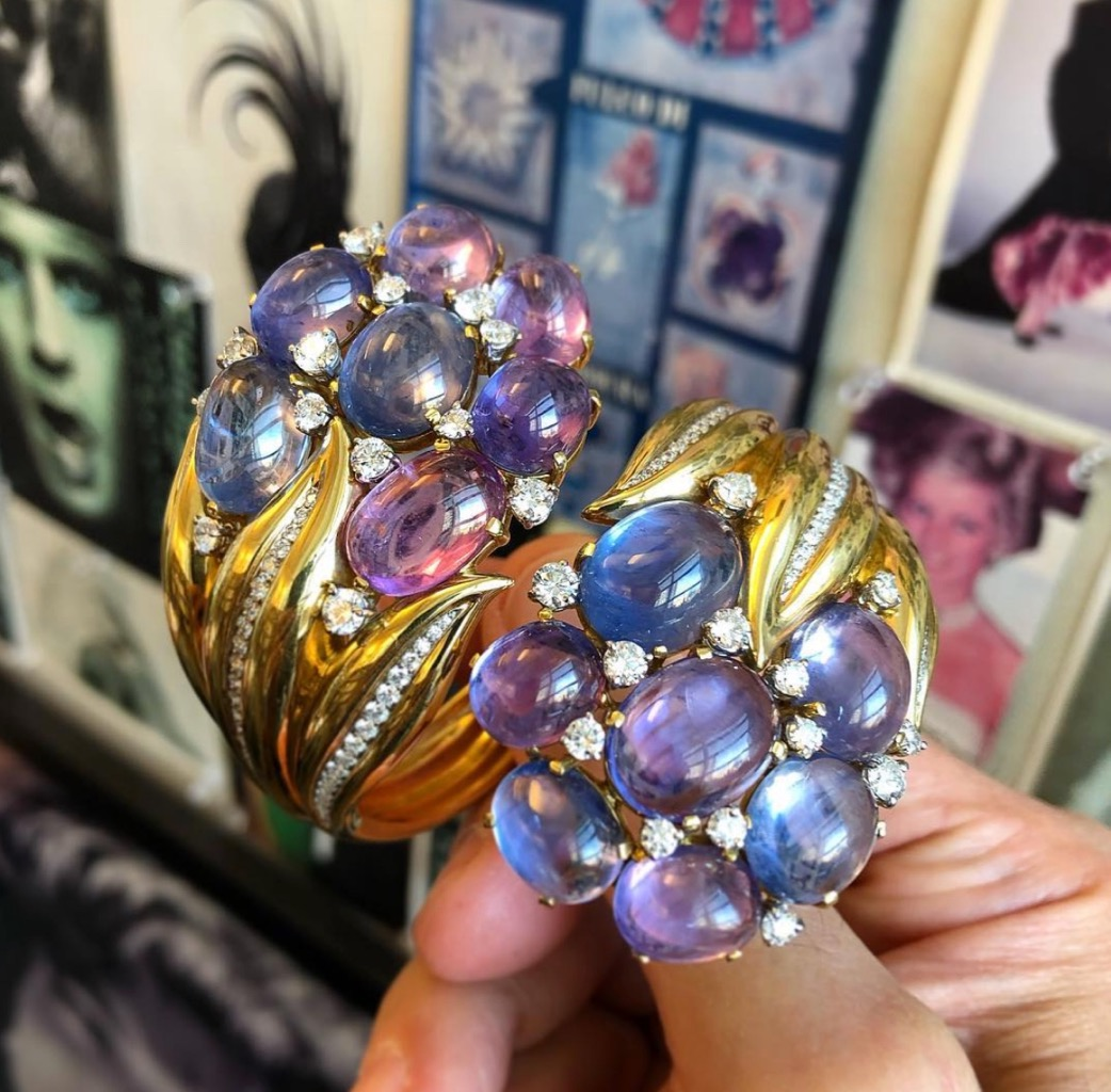"""Hyacinth"" cuff bracelet by Verdura in gold, diamonds and an exceptional collection of cabochon sapphires from the 'In Bloom' selling exhibition at Sotheby's. Photo via Instagram @frankbeverett"