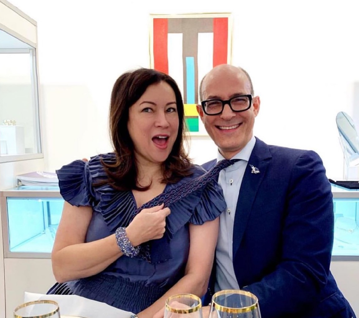 Jennifer Tilly with Frank Everett at a lunch at Sotheby's in Los Angeles. Photo via Instagram @frankbeverett