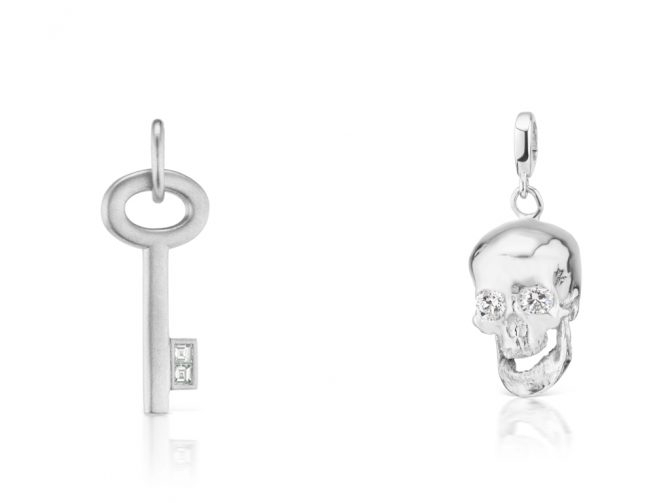 Platinum and diamond key pendant by Michelle Fantaci and skull by Luis Morais from the Have a Heart: Platinum Edition collaboration. Photo courtesy