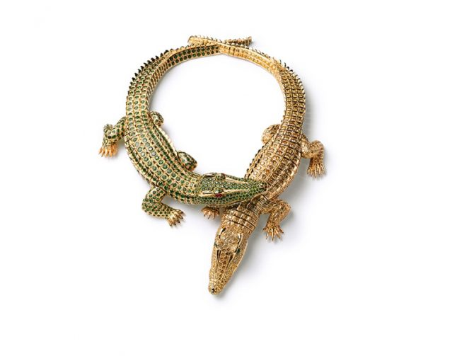 Maria Felix's gold crocodile necklace made by Cartier in 1975 is set with emeralds and yellow diamonds. Photo