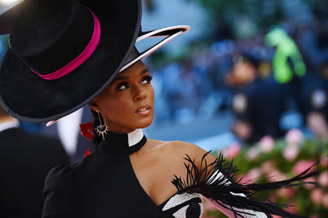 Janelle Monae wore earrings by Hanut Singh at The 2019 Met Gala Celebrating Camp: Notes on Fashion at Metropolitan Museum of Art on May 06, 2019 in New York City. (Photo by Dimitrios Kambouris/Getty Images for The Met Museum/Vogue)