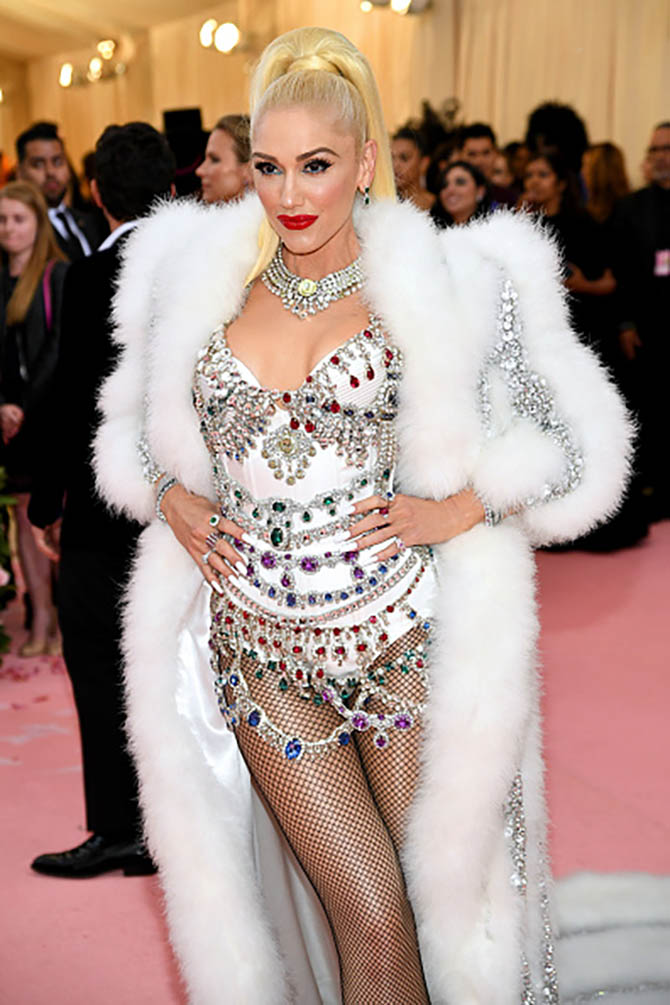 Gwen Stefani also wore a bejeweled number by Moschino at The 2019 Met Gala