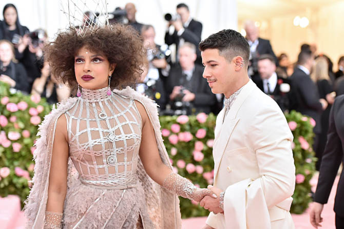 Nick Jonas with Priyanka Chopra who wore jewels by Chopard attend The 2019 Met Gala