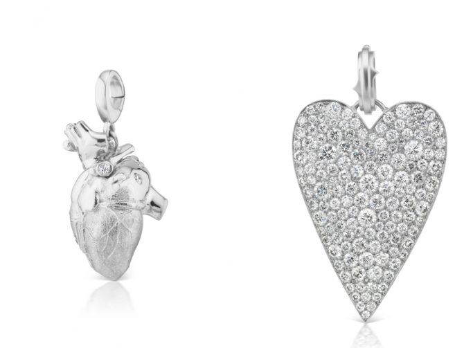 Platinum and Canadamark diamond heart pendants by Luis Morais and Sylva & Cie. Photo courtesy
