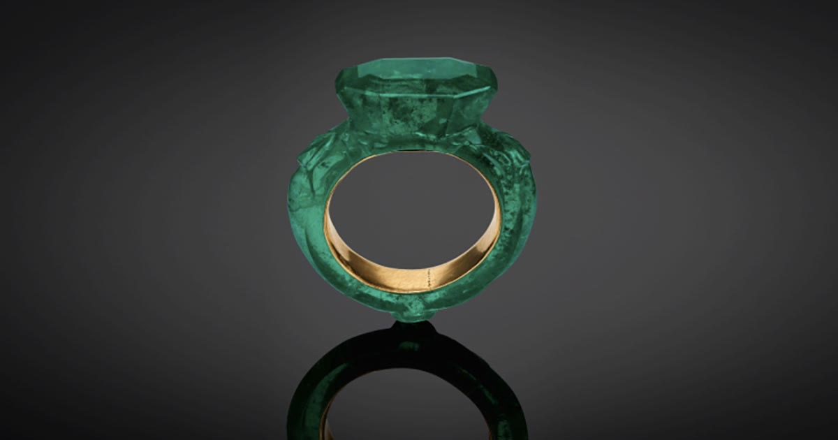 A 16th-17th Century carved emerald and gold ring from the Maharajas & Mughal Magnificence sale at Christie's. Photo Christie's