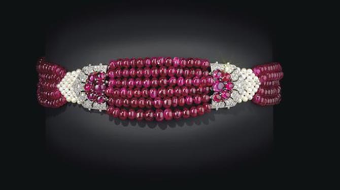 The Cartier Patalia Ruby Choker from The Al Thani Collection being sold at Christie's in June. Photo courtesy
