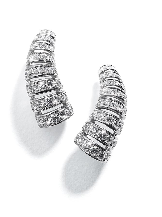 Belperron Corne Diamond Earclips Photo courtesy