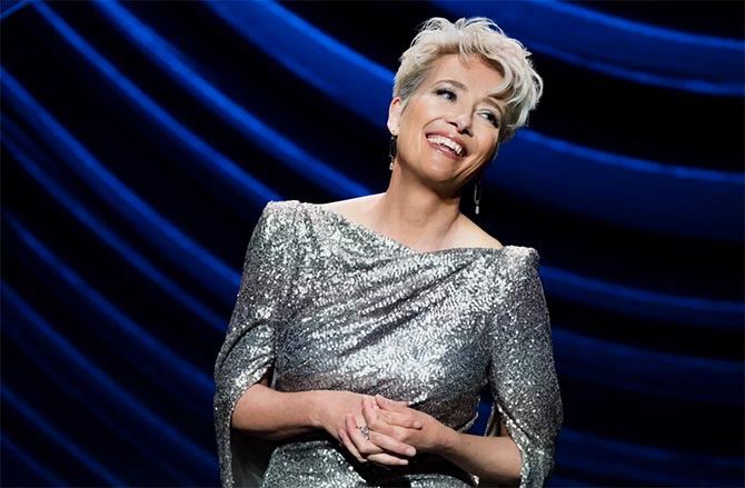 Emma Thompson in the first scene of 'Late Night' wearing a Talbot Runhof gown with jewelry by Doryn Wallach.