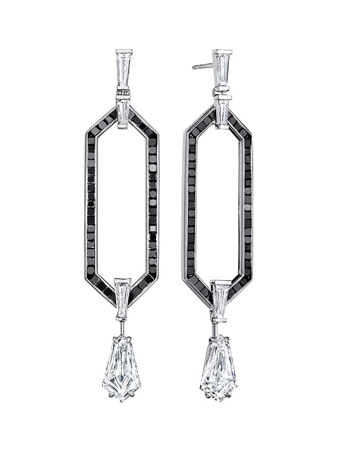 The black and white diamond Doryn Wallach earrings Emma Thompson wears in 'Late Night.'