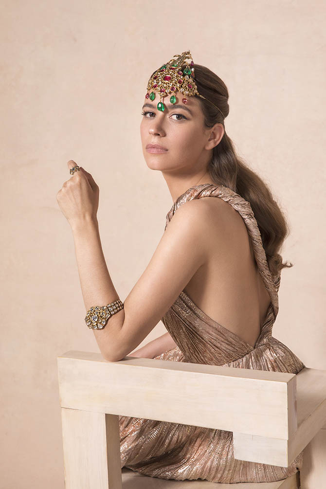 Amanda Alagem wearing jewels from the the Maharajas & Mughal Magnificence auction in photo by Claiborne Swanson Frank for Christie's.