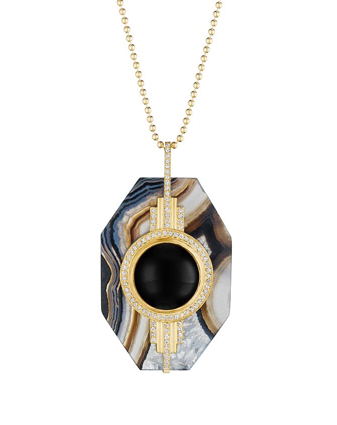 Doryn Wallach marbled agate agate, diamond, onyx and gold pendant worn by Emma Thompson in Late Night.
