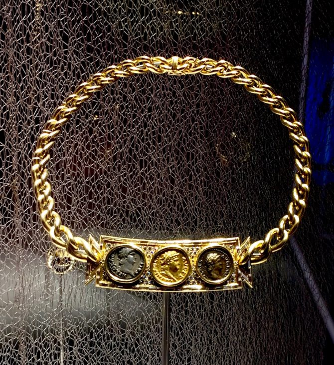 Gold Bvlgari necklace made in 1978 and set with gold aureus (67-68 AD), silver denarius (64-65 AD) bronze semis (62-68 AD) of emperor Nero on display in 'BVLGARI, The Story, The Dream.' Photo by Marion Fasel