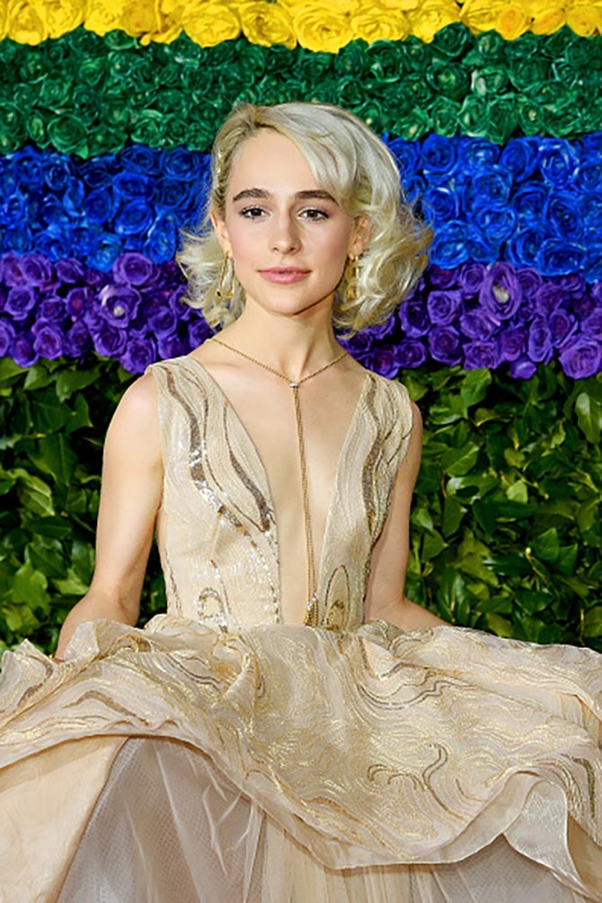 Sophia Anne Caruso wore a necklace by Maria Canale.