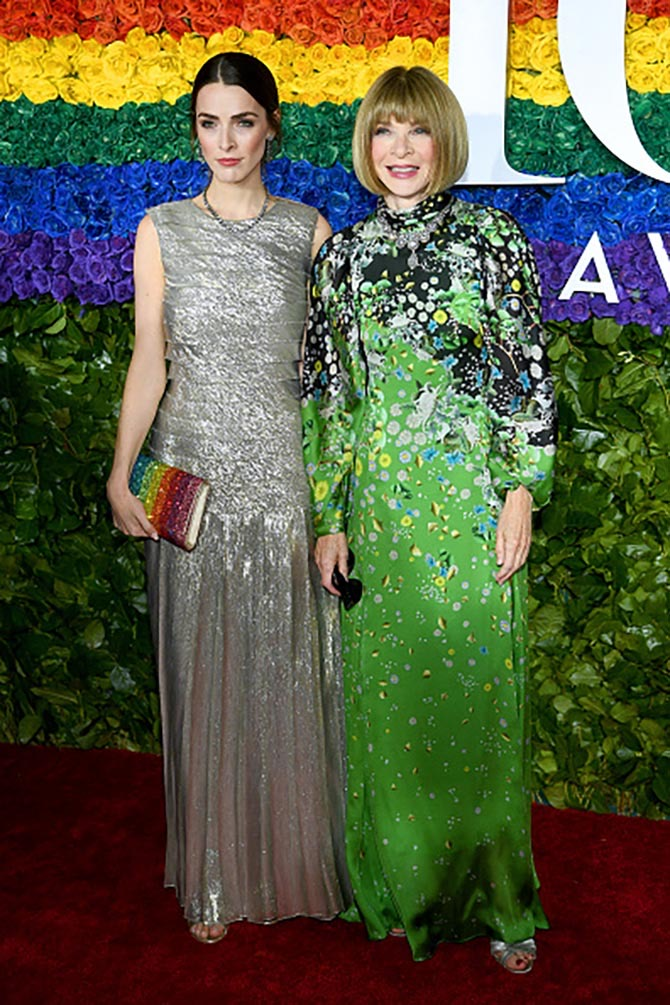 Bee Shaffer Carrozzini and Anna Wintour in diamond necklaces at the Tonys.