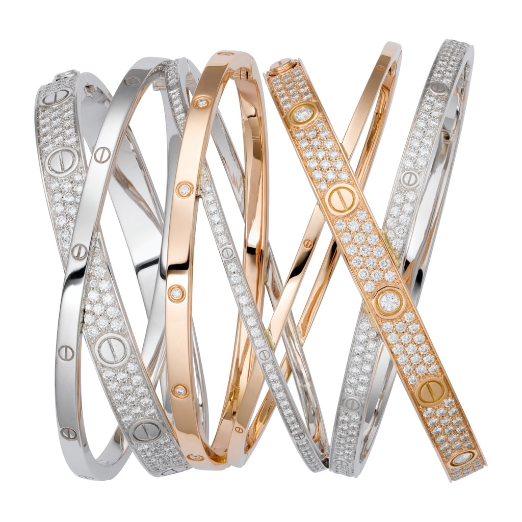 Cartier Love Cuff Bracelet has diamonds set in white and rose gold. Photo courtesy