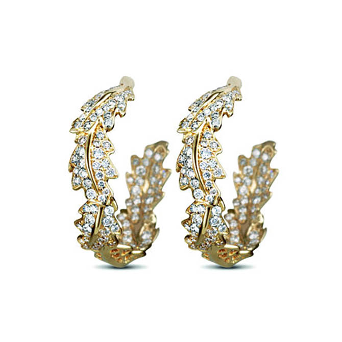 The style of Asprey gold and diamond small Oakleaf hoop earrings Kate Middleton wore at Wimbledon.
