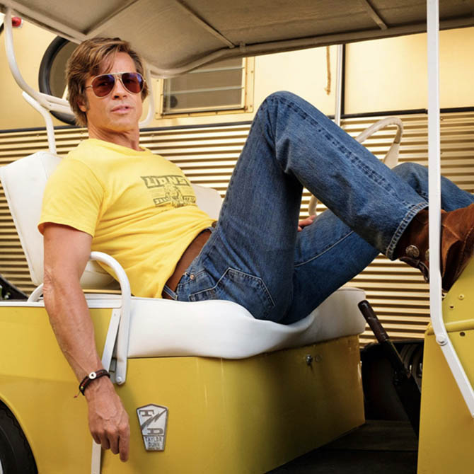 Brad Pitt wearing a leather cord bracelet in 'Once Upon A Time...In Hollywood.'