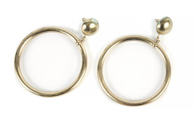 Sharon Tate's hoop earrings from her estate sale. Photo Julien's Auctions