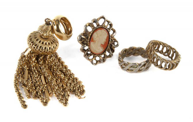 An assortment of Sharon Tate's rings sold with items from her estate. Photo Julien's auctions
