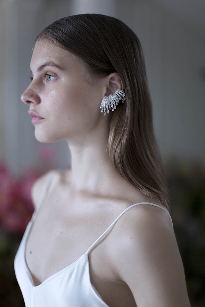 Diamond briolette Delphine Ear Piece by Ana Khouri shown on a model in Paris. Photo courtesy