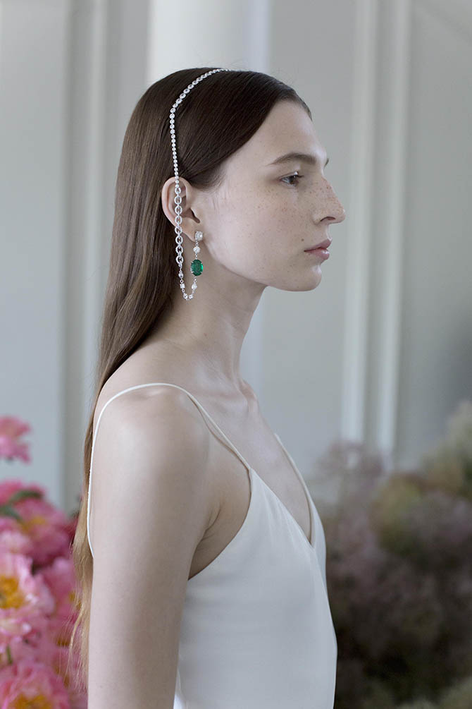 Diamond and emerald Eva headpiece by Ana Khouri shown on a model in Paris.