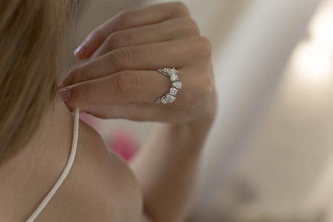 Diamond Eva Ring by Ana Khouri shown on a model in Paris.