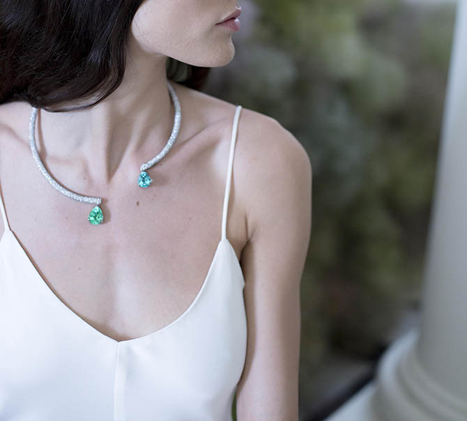 Diamond and Paraíba tourmaline Phillipa necklace by Ana Khouri shown on a model in Paris. Photo courtesy