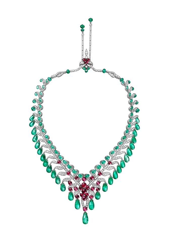 Cartier Magnitude High Jewelry necklace composed of platinum, 29 emerald drops from Afghanistan totaling 124.05-carats, emerald beads, cabochon-cut rubies, brilliant-cut diamonds. Photo courtesy