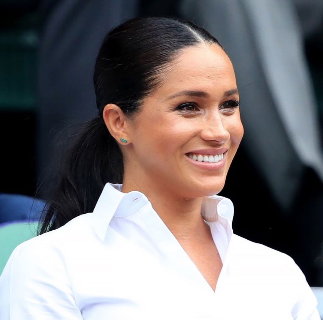 Meghan Markle wearing Jennifer Meyer turquoise inlay bar studs at Wimbledon.