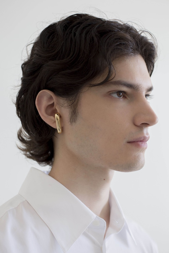 Gold Phillipa Ear Piece by Ana Khouri shown on a model in Paris. Photo courtesy