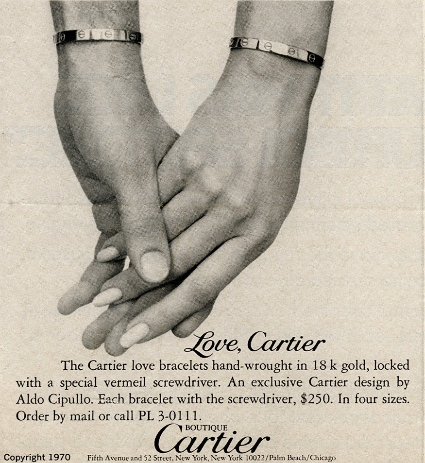 A 1970 ad for the Love bracelet shows it being worn by a man and a woman. Photo courtesy